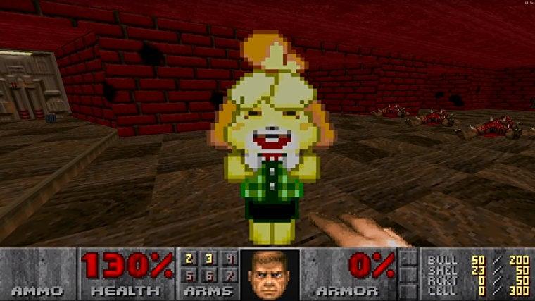 Image for Animal Crossing's Isabelle kicks demonic butt in this Doom 2 mod