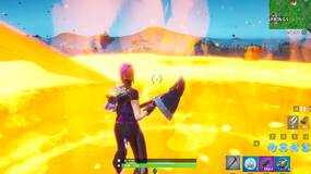 Image for Fortnite: Touch a giant glowing cube, enter the rift above Loot Lake and search a landing pod within a meteor