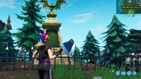 Image for Fortnite: dance in front of a bat statue, in a way-above ground pool and on a seat for giants