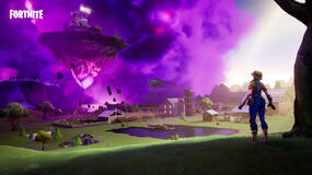 Image for Fortnite: land on top of a floating island and a meteor