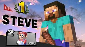 Image for Minecraft Steve's Smash Bros. Ultimate victory pose looks like he's holding his...