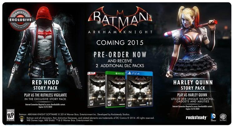 Image for GameStop Batman: Arkham Knight pre-order bonus will be sold post-launch
